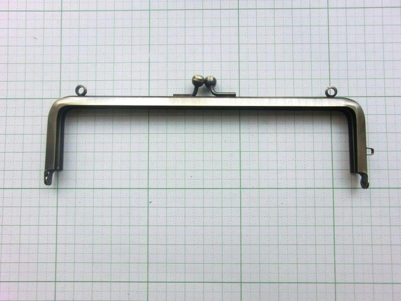 画像1: 【口金】16.5角型・カン付・AG(通帳・眼鏡ケース)
