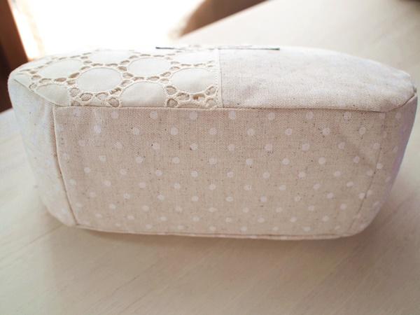 画像2: 【型紙&レシピと口金のセット】18cmマチ別布がま口ポーチ(口金・AG)