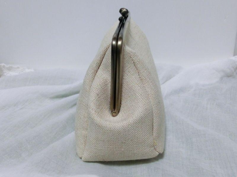 画像4: 【型紙&レシピと口金のセット】18cmマチ別布がま口ポーチ(口金・AG)
