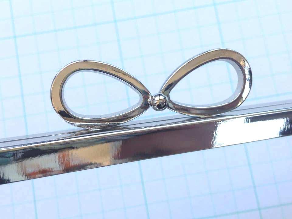 画像3: 【売り切り口金】24cm・太枠角型・バック用・リボン・銀