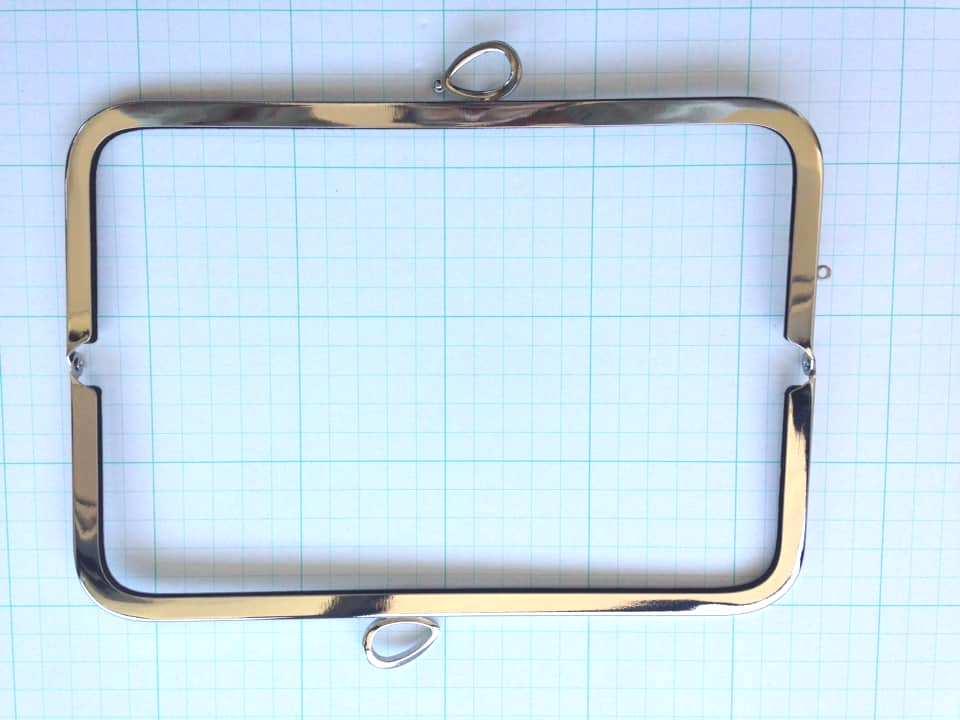 画像2: 【売り切り口金】24cm・太枠角型・バック用・リボン・銀