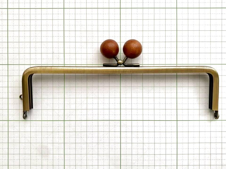 画像1: 【定番口金】16.5cm角型・★茶色木玉・AG(通帳ケース)