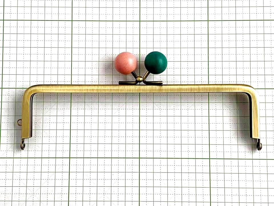 画像1: 【定番口金】16.5cm角型・★さくら木玉・AG(通帳ケース)