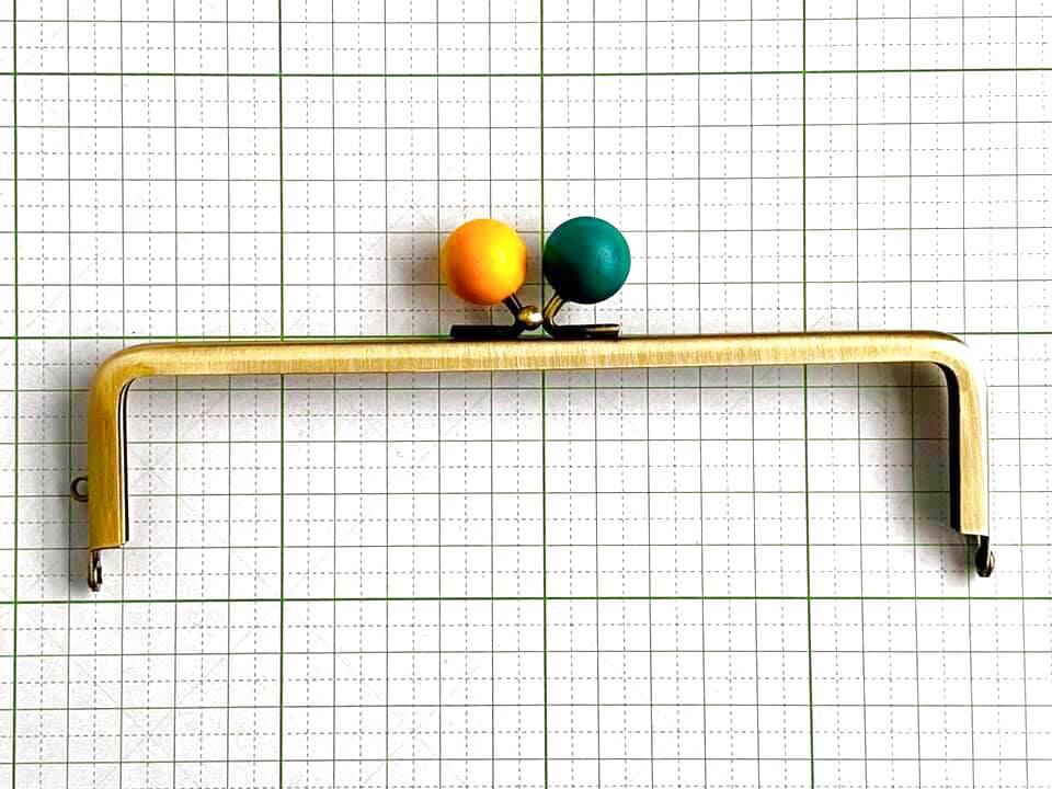 画像1: 【定番口金】16.5cm角型・★レモン木玉・AG(通帳ケース)
