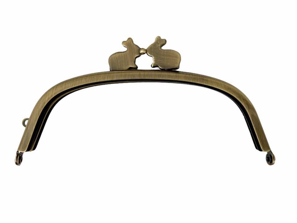 画像1: 【定番口金】12.5cmくし型・うさぎ・AG